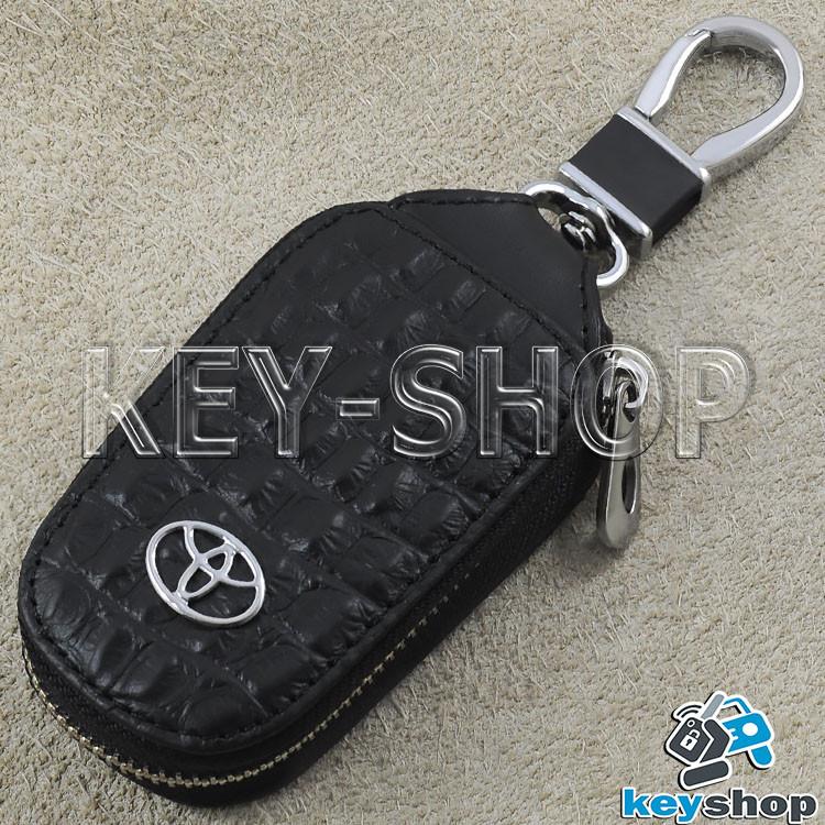 Ключниця кишенькова (шкіряна, чорна, з тисненням, на блискавці, з карабіном), логотип авто Toyota (Тойота)