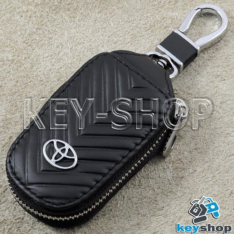 Ключница карманная (кожаная, черная, с тиснением, на молнии, с карабином), логотип авто Toyota (Тойота)