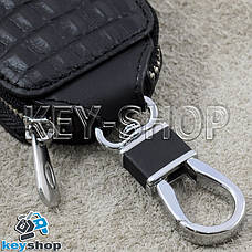 Ключница карманная (кожаная, черная, с тиснением, на молнии, с карабином), логотип авто Toyota (Тойота) , фото 3