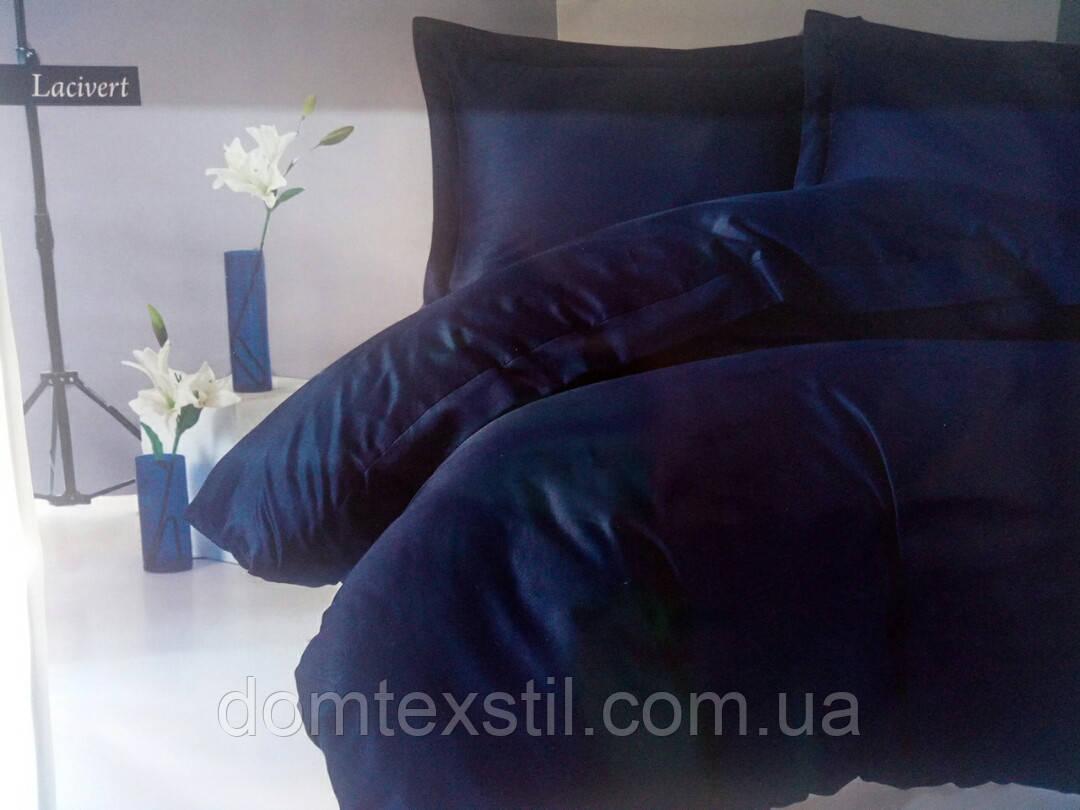 Cotton box сатиновое темно синее постельное белье, евро