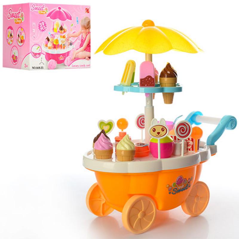 Игровой набор Мой Магазин Сладостей и Мороженого  прилавок - тележка, мороженое, звук, свет, 668-25-26