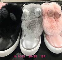 Детские демисезонные ботинки с мехом и ушками оптом Размеры  30-35