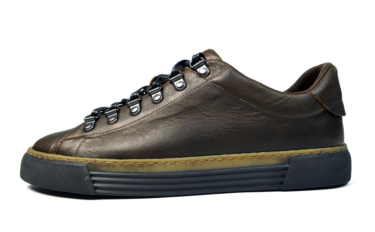 Коричневые мужские кожаные кроссовки комфорт VLAD XL