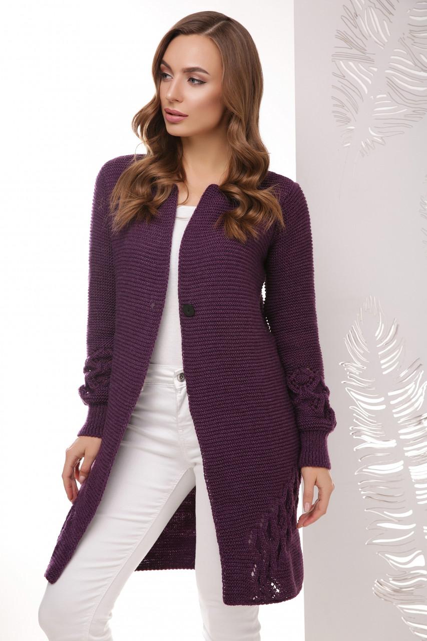 женский вязаный кардиган цвет фиолетовый размер 44 48 купить в