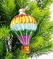 """Ёлочная игрушка стекло """"Воздушный шар""""  11х7 см. (продажа от 3шт.)"""