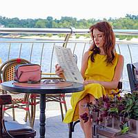 """Жіноча шкіряна сумка """"Нью Йорк"""" Рожева, фото 1"""