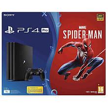 Игровая приставка Sony PlayStation 4 Pro 1TB Black + Игровой диск Spider-Man (CUH-7116B)