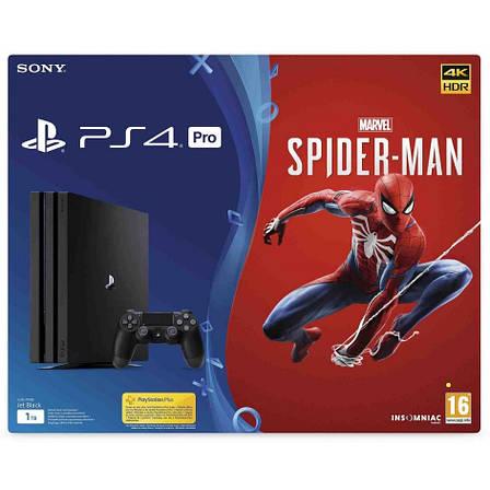 Игровая приставка Sony PlayStation 4 Pro 1TB Black + Игровой диск Spider-Man (CUH-7116B), фото 2