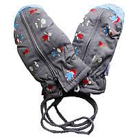 Детские зимние термоварежки для мальчика от 1 года до 4 лет серые