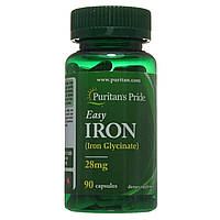 Железо Глицинат Easy Iron 28 mg, Puritan's Pride, 90 капсул
