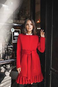 """Женское демисезонное кашемировое пальто """"LIMA"""" с оборкой и карманами (3 цвета)"""