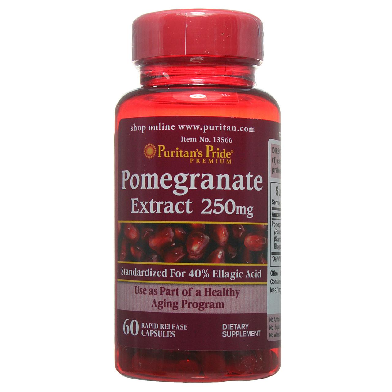 Экстракт граната в капсулах, Pomegranate Extract 250 mg, Puritan's Pride, 60 капсул