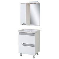Комплект мебели для ванной комнаты СИМПЛ 60 металлик с умывальником Комо 60