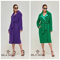 bfd1c7cebf3 Яркое женское пальто в фиолетовом и сочном зеленом цвете