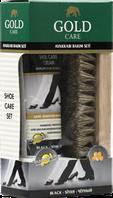Набір по догляду за взуттям(1шт крем чорний ТУБА+1шт щітка)GoldCare1006