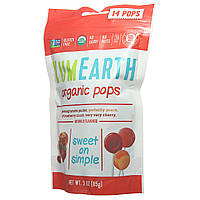 Органические натуральные фруктовые конфеты-леденцы на палочке, Ассорти, 14 шт в упаковке, Yummy Earth, США
