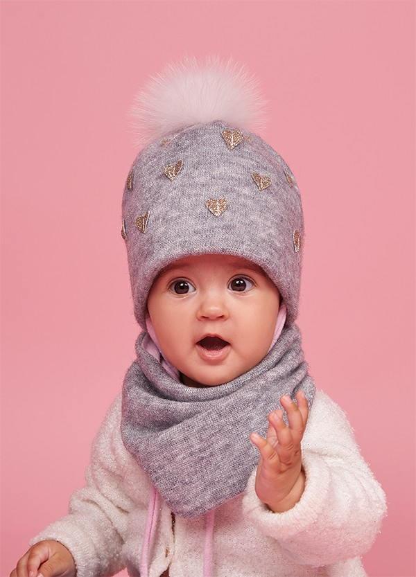 Детская зимняя шапка (набор) для девочек КОКО оптом размер 44-46-48