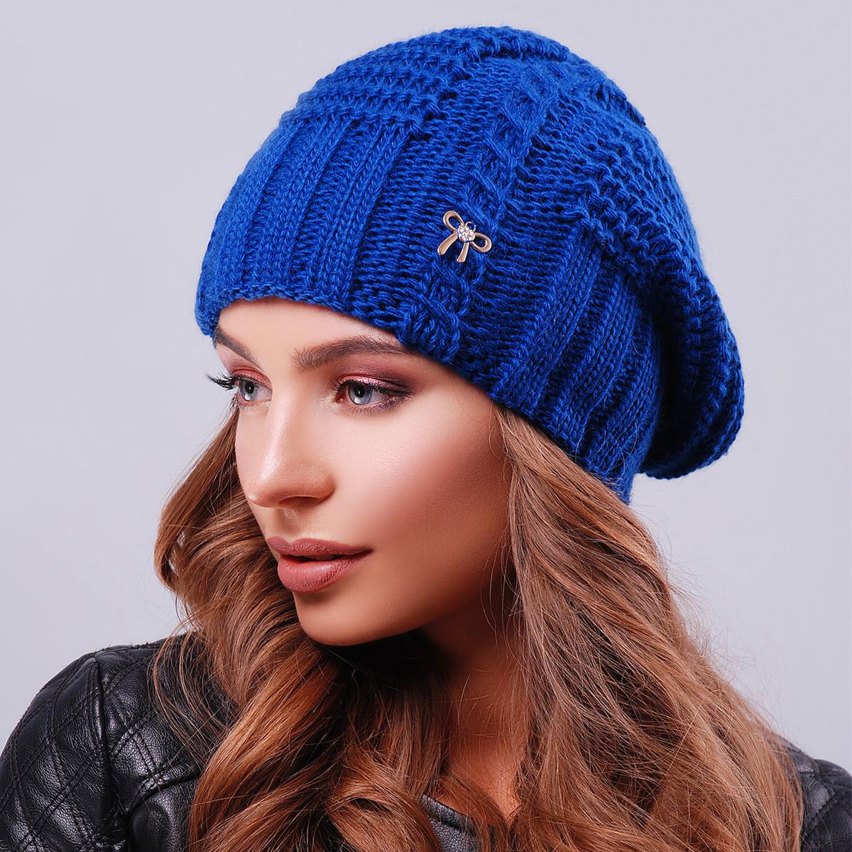 шапка вязаная женская электрик Anna Bestcom