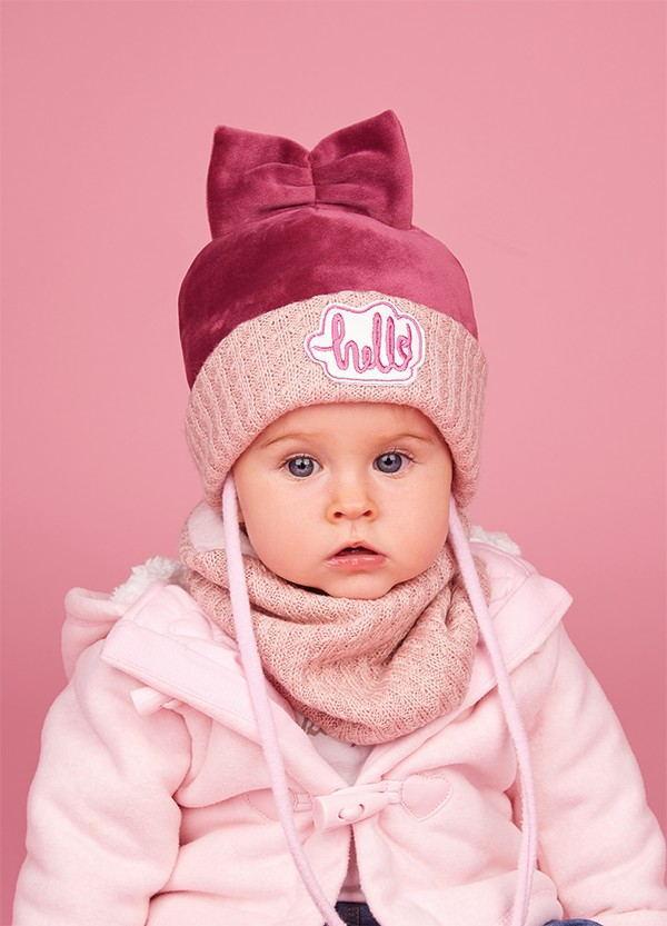 Детская зимняя шапка (набор) для девочек МИЯКО оптом размер 44-46-48