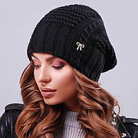 Женская черная вязаная шапка