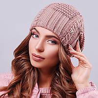 Молодежная вязаная шапка с узором