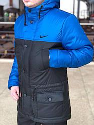 Мужская зимняя парка Nike синего и серого цвета (люкс копия)