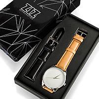 """Часы """"Карамельно-коричневый минимализм"""" подарок женщине, мужчине"""