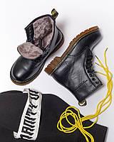 f39c128527eb Зимние ботинки в стиле Dr. Martens, натуральный мех, кожа, черные ...