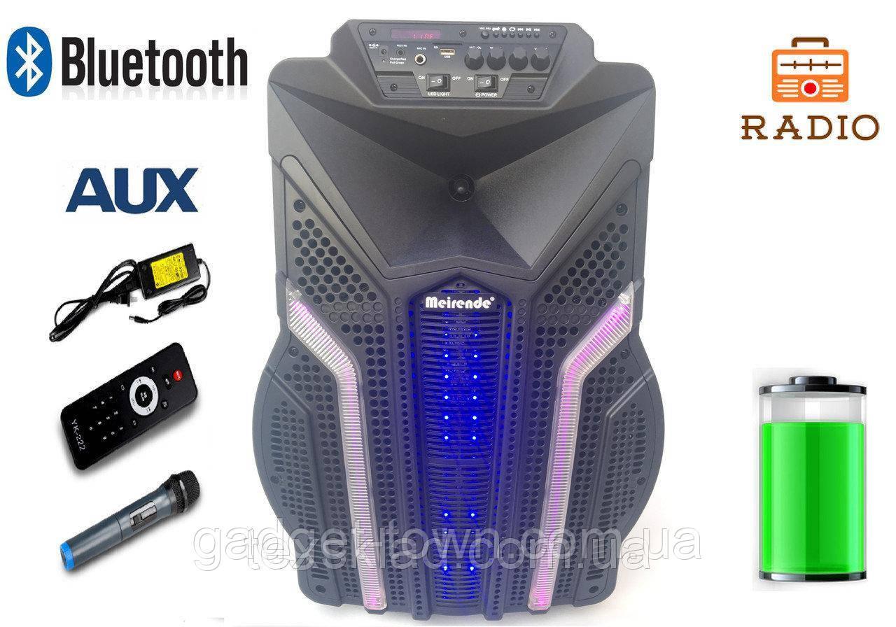 "Колонка с аккумулятором и микрофоном Meirende K12-7/ 12""/ 120W/ Bluetooth/пульт/ SD+USB+FM/ LED"