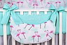 Комплект постельного белья Asik Фламинго мятно-розовые 8 предметов (8-296), фото 7
