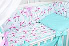 Комплект постельного белья Asik Фламинго мятно-розовые 8 предметов (8-296), фото 2