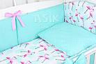 Комплект постельного белья Asik Фламинго мятно-розовые 8 предметов (8-296), фото 3