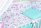 Комплект постельного белья Asik Фламинго мятно-розовые 8 предметов (8-296), фото 5