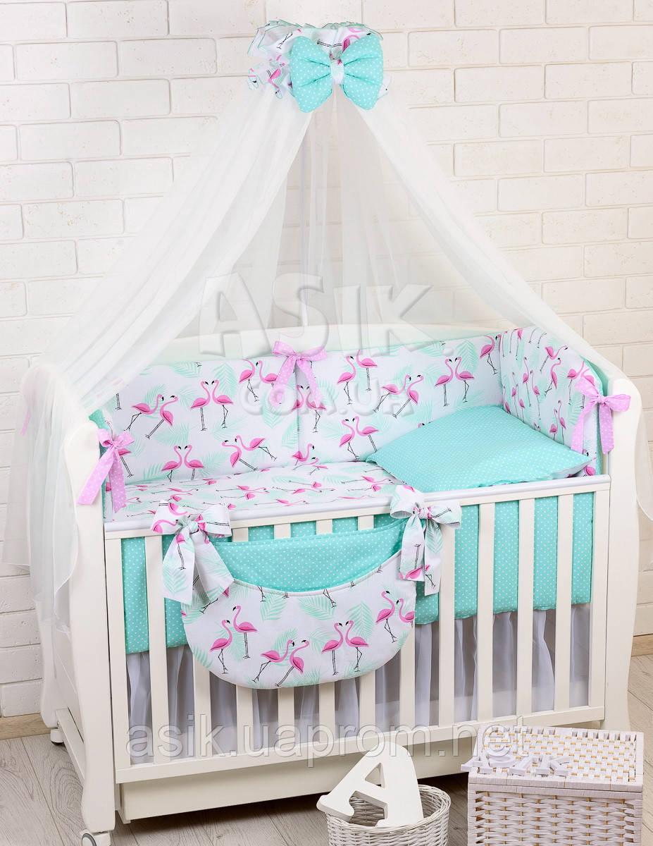 Комплект постельного белья Asik Фламинго мятно-розовые 8 предметов (8-296)
