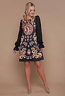 Нарядное черное платье трапеция с шифоновыми рукавами и  принтом, Афродита д/р