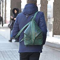 """Кожаный РЮКЗАК унисекс """"Денвер"""" Зеленый, фото 1"""