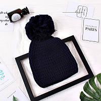 Женская шапка с большим помпоном зимняя синяя, фото 1