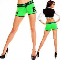 Спортивные короткие женские шорты яркого-салатового цвета