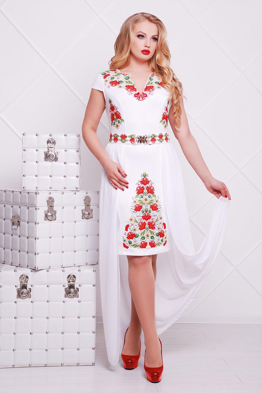 97ace4f5b6b Белое прямое платье до колен со съемным шифоновым шлейфом принт Фольклор  Аркадия-Б б