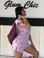 Футболка и шорты свободного покроя с чехлом - фламинго, пижамы женские.