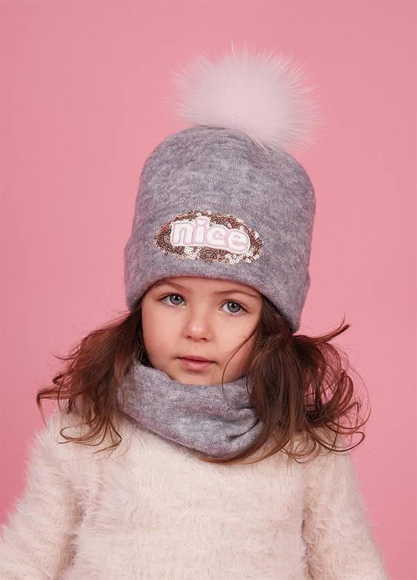 Детская зимняя шапка (набор) для девочек БОНКИ оптом размер 46-48-50