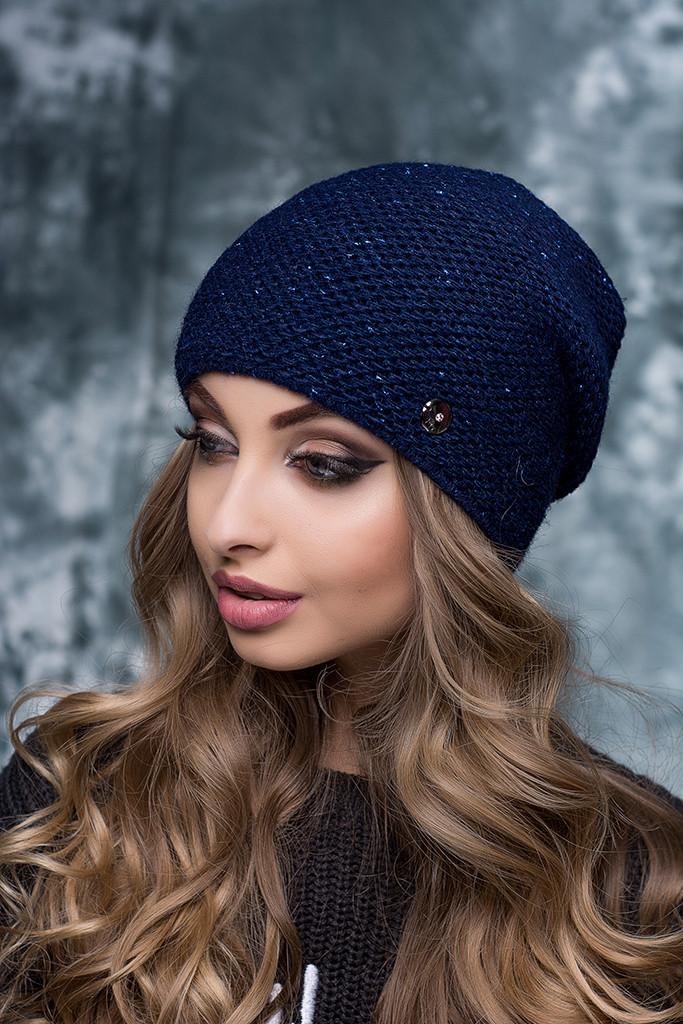 Женская шапка с люрексом Тиана синяя