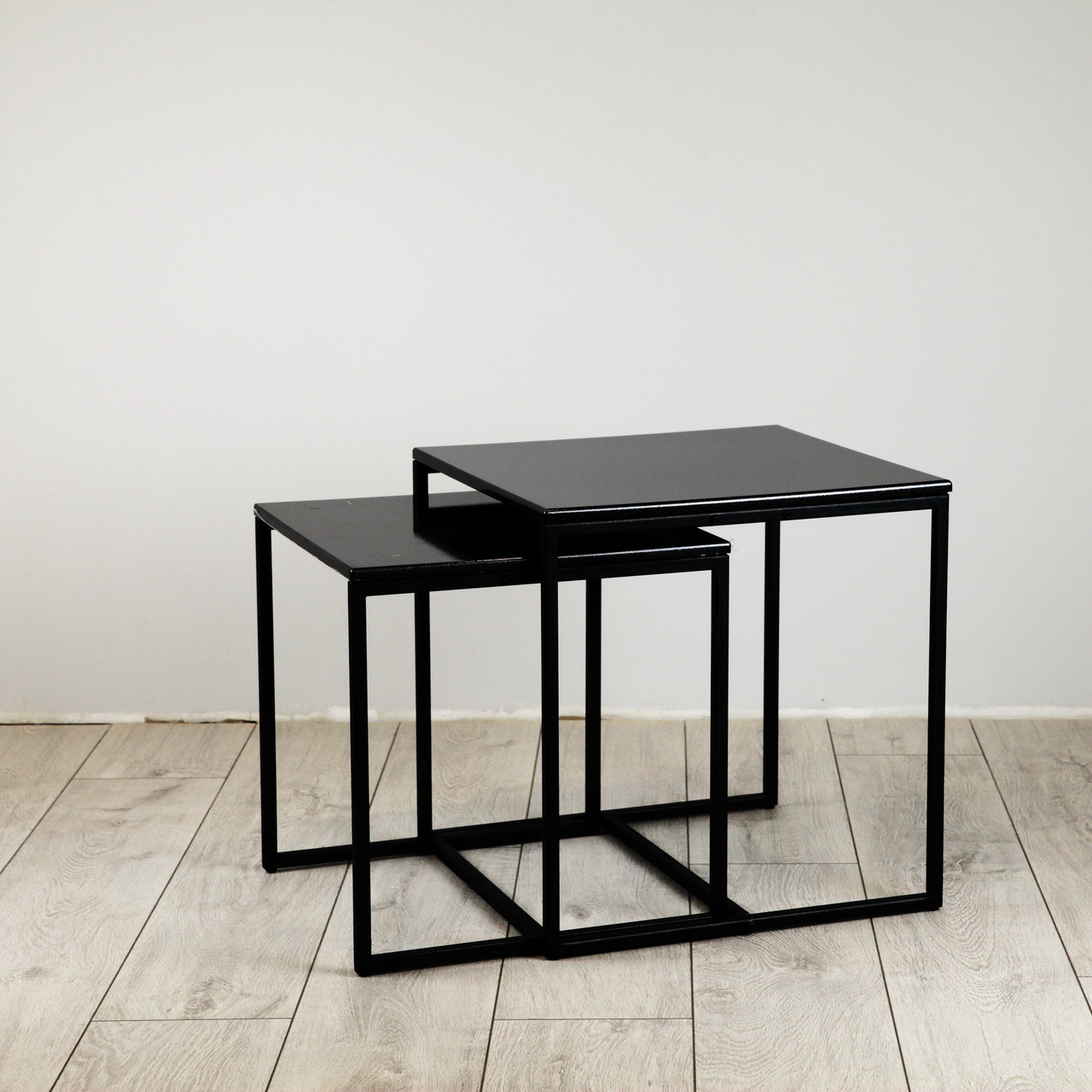 Комплект столов журнальных Куб 400 и Куб 450 - Антрацит / черный (Loft Cub Black-black)