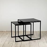 Комплект столов журнальных Куб 400 и Куб 450 - Антрацит / черный (Loft Cub Black-black), фото 1
