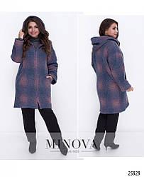 Пальто женское шерстяное с капюшоном Большого размера