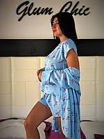 Комплект трійка для будинку блакитний фламінго, футболка шорти і халат., фото 1