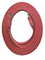 Шнур HDMI-HDMI, плоский кабель, gold, 5м, красный (в блистере), фото 1