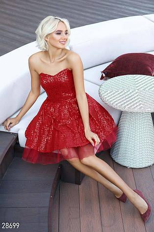 Пишне плаття-бандо з узором блискуче червоне розмір 44 46 48 ... 3385ebed64378