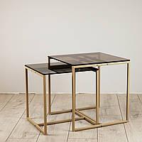 Комплект столов журнальных Куб 400 и Куб 450 - стекло Бронза 8 / бежевый (Loft Cub bronze8-beige)