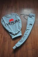 Спортивний костюм чоловічий Venum Венум сірий з червоним малюнком (репліка)